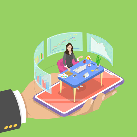 Isometric flat vector concept of online, expert, virtual business assistant, investment management, mobile banking, help service.