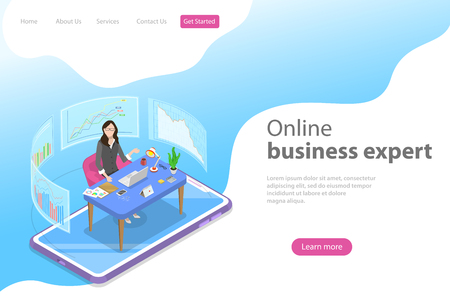 Isometric flat vector landing page template for online, expert.