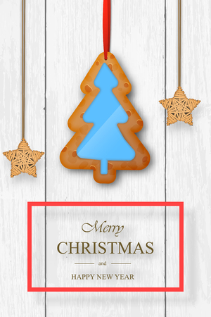 Christmas vector on white wooden background with wishes and gingerbread. Stock Photo