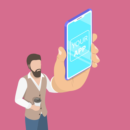 Flat isometric vector concept of mobile app launch, startup idea.