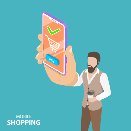 Flat isometric vector concept of online shopping, e-commerce. Stock Photo