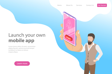 Flat isometric vector landing page template for mobile app launch.
