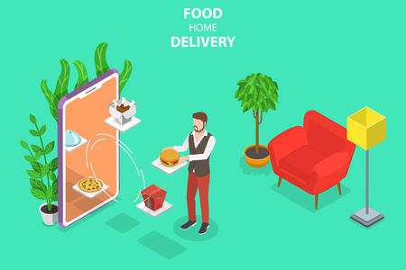 Isometric flat vector concept of food home delivery, online ordering.