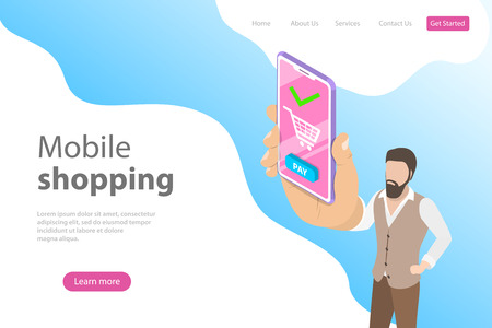 Flat isometric vector landing page template for online shopping, mobile store.