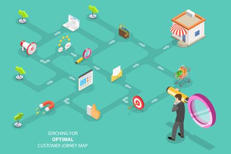 Concetto di vettore piatto isometrico di ricerca per un percorso ottimale del cliente, campagna di marketing digitale, promozione, pubblicità. Vettoriali