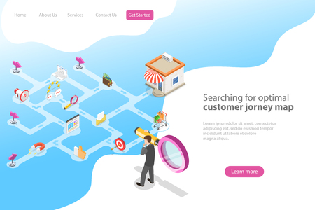 Isometric flat vector landing page template for serching for optimal customer journey, digital marketing campaign, promotion, advertisment. Illustration