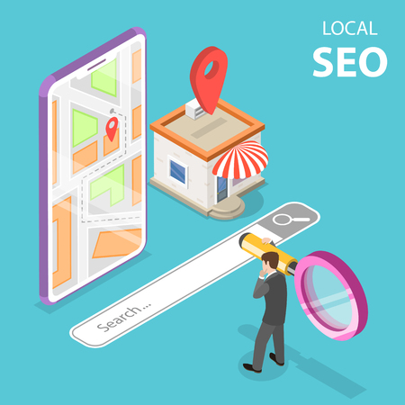 Isometric flat vector concept of local seo, serching store, e-commerce. Vectores