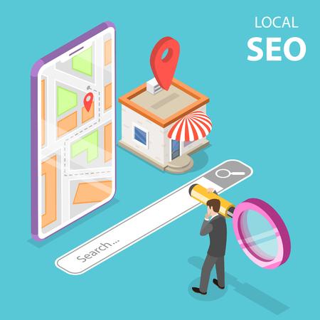 Isometrische platte vector concept van lokale seo, serching winkel, e-commerce.
