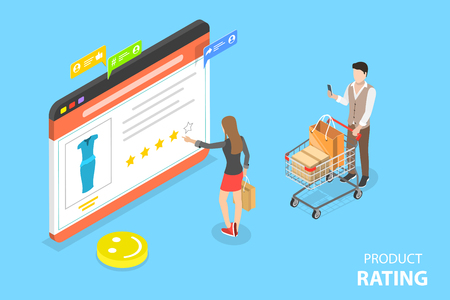 Isometric flat vector concept of product rating, customer feedback, opinion and review, online survey. Illustration