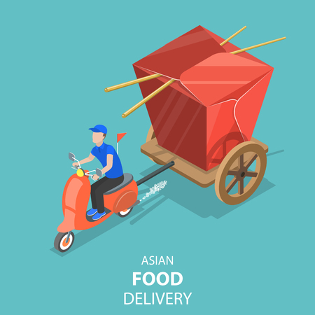 Isometric flat vector concept of asian food delivery, japanese sushi. Illustration