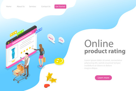 Isometric flat vector landing page template of product rating, customer feedback, opinion and review, online survey.
