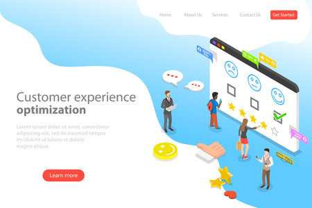 Isometric flat vector landing page template of customer experience optimization, crm, relationship management, client rating, user satisfaction.