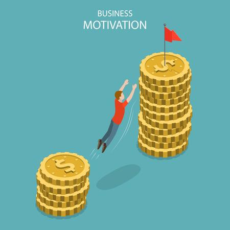 Isometrische platte vector concept van zakelijke motivatie, prestatie, ambitie en leiderschap, loonsverhoging, salarisverhoging.