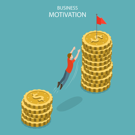 Isometric flat vector concept of business motivation, achievment, ambition and leadership, pay rise, salary increase.