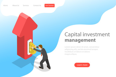 Flat isometric vector landing page template of financial investment, marketing analysis, investing opportunity.