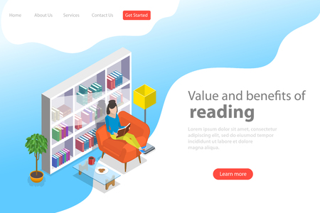 Isometric flat vector landing page template of reading, favorite book.