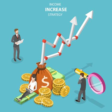 Concept de vecteur plat isométrique de stratégie d'augmentation des revenus, croissance financière, efficacité croissante.
