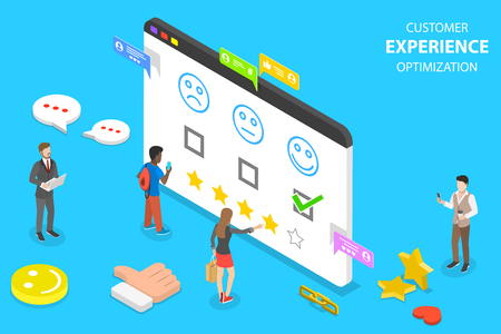 Isometric flat vector concept of customer experience optimization, crm