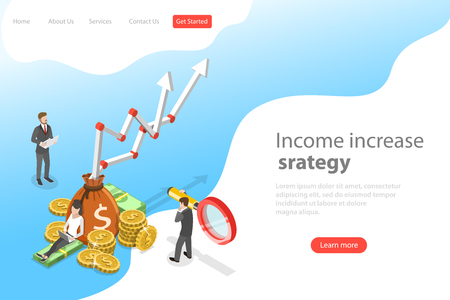 Isometric flat vector landing page template of income increase strategy, financial growth, increasing efficiency. Illustration