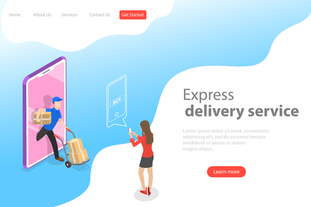 Isometric flat vector landing page template of express delivery service.
