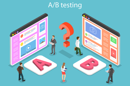 Isometric flat vector concept of AB testing, split test, A-B comparison, web development. Illustration