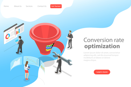 Isometric flat vector landing page template of conversion rate optimization. Illusztráció