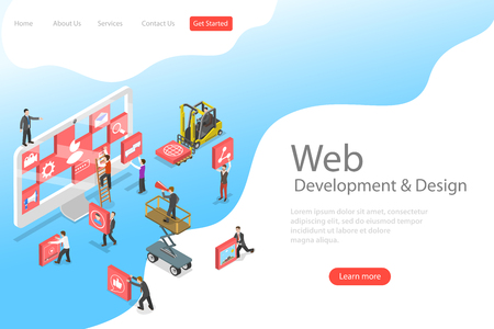 Isometric flat vector landing page template of website builder, site constructor, web services agency, software deveolpment.