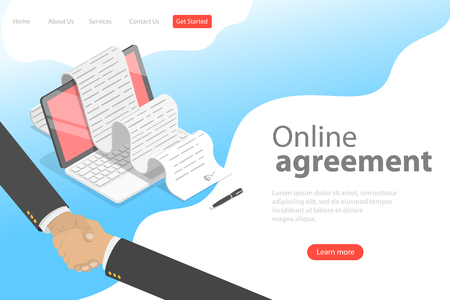 Isometric flat vector landing page template of agreement, handshake.