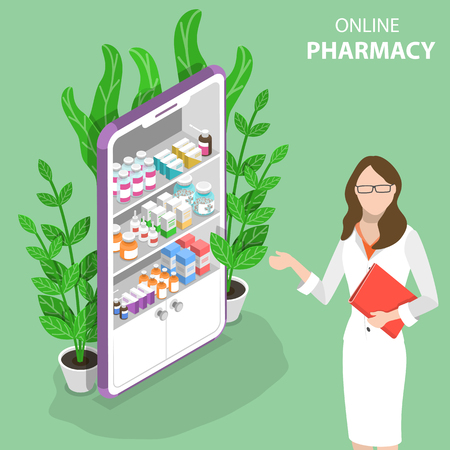 Isometric flat vector concept of online pharmacy. 向量圖像