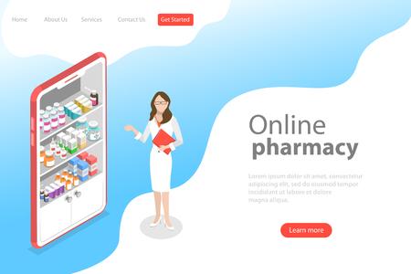 Plantilla de página de destino de vector plano isométrico de farmacia en línea. Ilustración de vector