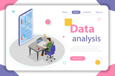 Flat isometric vector concept of business statistics and analytics.