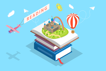 Isometric flat vector concept of child reading, imagination.