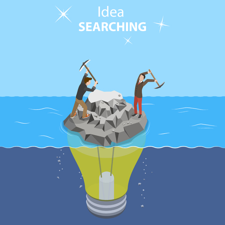 Isometric flat vector concept of idea search, searching for new ideas solutions, brainstorming, teamwork.