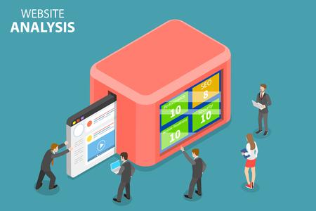 Flaches isometrisches Vektorkonzept der Website-Datenanalyse, Webanalyse, SEO-Auditbericht, Marketingstrategie.