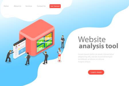 Flat isometric vector landing page template of website data analysis, web analytics, SEO audit report, marketing strategy. Illustration