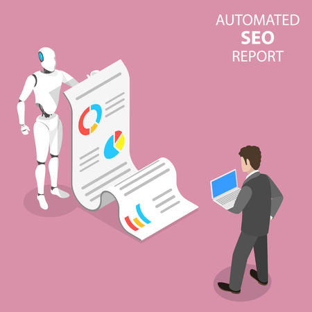 Flat isometric vector concept of automated SEO report, website performance, data analysis, web analytics, digital marketing strategy.
