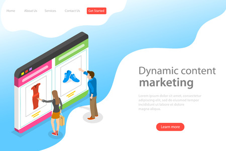 Isometric flat vector landing page template of behavioral digital marketing.