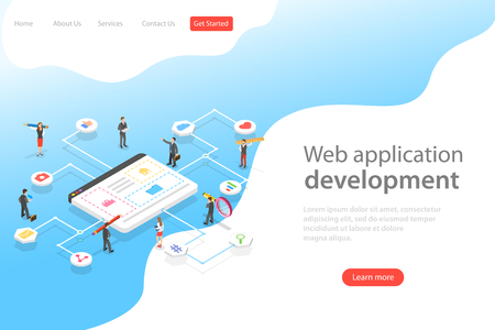 Isometric flat vector landing page template of web services agency.