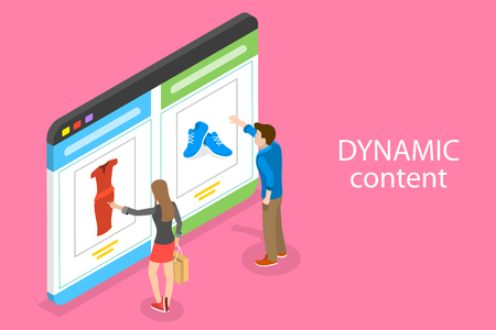 Izometryczne płaskie wektor koncepcja behawioralnego marketingu cyfrowego, treści dynamiczne.