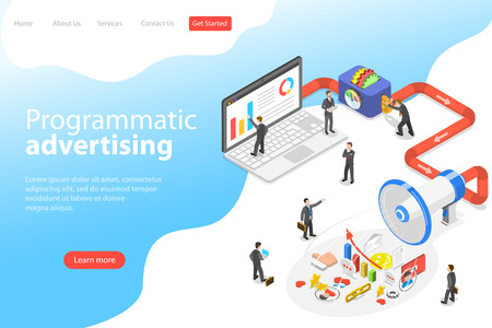 Flat isometric vector landing page template of programmatic advertising. Illustration