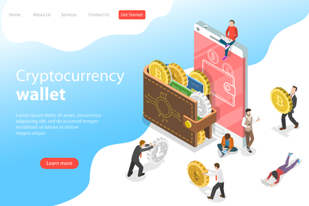 Flat isometric vector landing page template of cryptocurrency wallet, blockchain, cryptocurrency mining, crypto exchange.