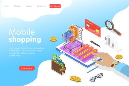 Plantilla de página de destino de vector plano isométrico de compras móviles, comercio electrónico.