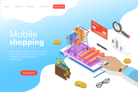 Flat isometric vector landing page template of mobile shopping, e-commerce.