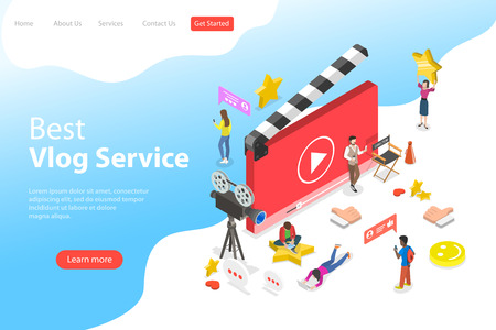 Flat isometric vector landing page template of video blog, vlog, online channel, creating video content. Ilustração