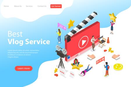 Modèle de page de destination vectorielle isométrique plate de blog vidéo, vlog, chaîne en ligne, création de contenu vidéo.