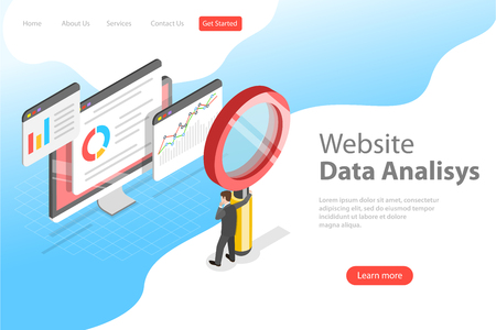 Flat isometric vector landing page template of website data analysis, web analytics, SEO audit report, marketing strategy. Ilustracja