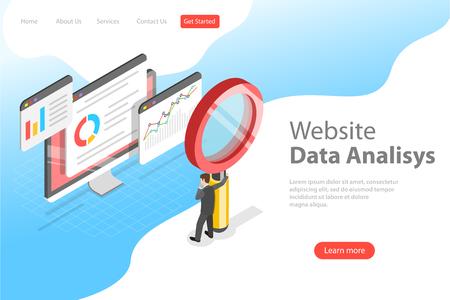 Plantilla de página de destino de vector plano isométrico de análisis de datos de sitios web, análisis web, informe de auditoría SEO, estrategia de marketing.