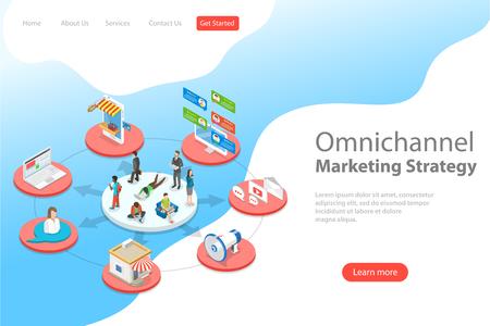 Modello di pagina di destinazione vettoriale piatto isometrico di omnicanale, diversi canali di comunicazione tra venditore e cliente, marketing digitale, shopping online. Vettoriali