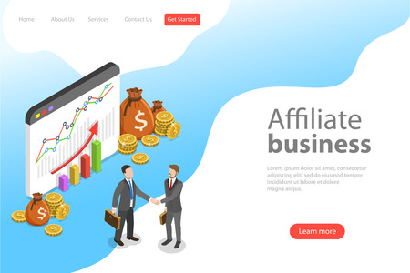 Flat isometric vector landing page template of affiliate marketing.