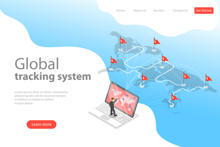 Isometric flat vector landing page template of worldwide freight shipping.